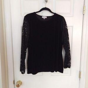 Calvin Klein Blouse - Black Velvet/Lace - Size 1X